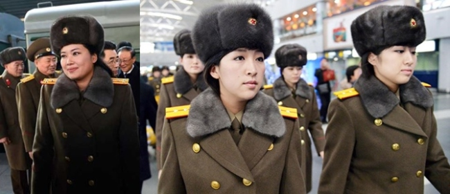 Hyon Song-wol, chief of the Moranbong Band (left picture); Members of North Korea`s Moranbong Band arrive at an airport in Beijing to return to the North, Saturday. ( Yonhap)