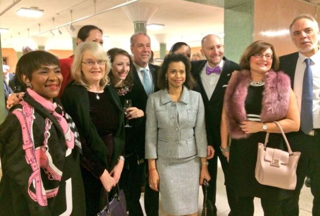 Diplomats from the disarmament delegations of Austria, Brazil, Ireland, Mexico, New Zealand and South Africa, as well as Costa Rica's permanent representative to the United Nations, Ambassador Elayne Whyte Gomez (center), pose after being nominated for Arms Control Persons of the Year on Dec. 13 last year (Disarmament Ireland Twitter)