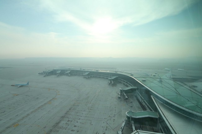 A view of Incheon Airport's Terminal 2 from the control tower. Yonhap