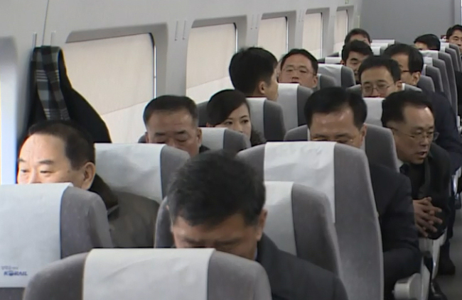 North Korean delegation travel to the Olympic host city of Gangneung (Yonhap)