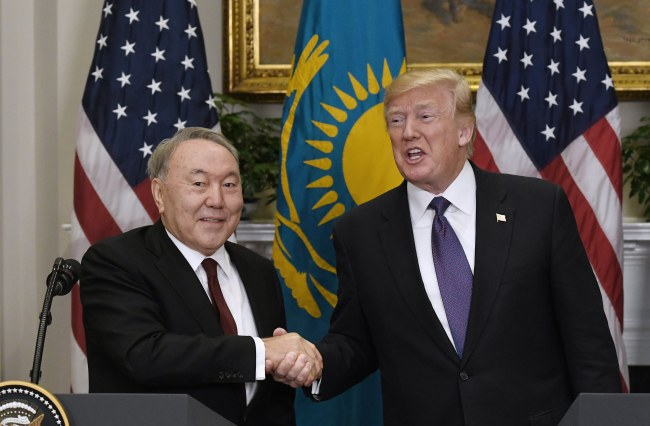 Kazakhstani President Nursultan Nazarbayev (left) shakes hands with US President Donald Trump in Washington on Jan. 16. (EPA)