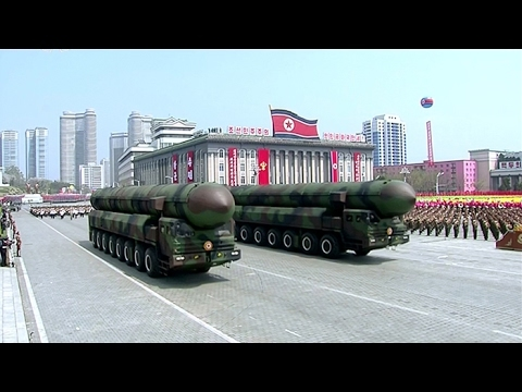 Two vehicles carrying what appeared to be ICBM-class missiles were present during a military parade in Pyongyang in April 2017. Youtube