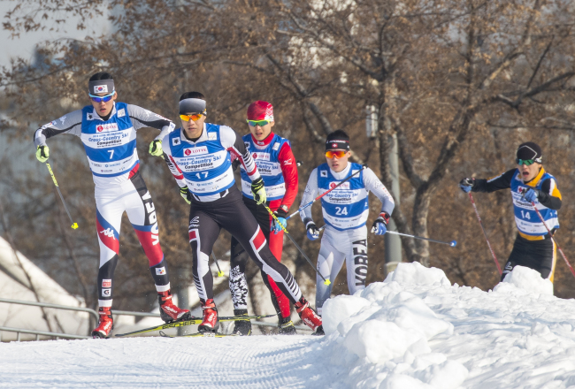 Cross-country skiers compete in the 2018 Seoul International Cross-Country Competition on Jan. 5. (Yonhap)
