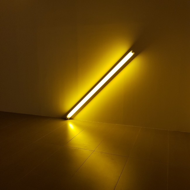 """The Diagonal of May 25, 1963 (to Constantin Brancusi)"" by Dan Flavin (The Korea Herald/Shim Woo-hyun)"