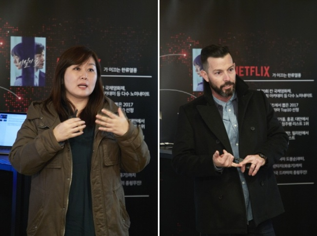 Kim Min-young, Director of International Originals at Netflix (left) and Rob Roy, Vice President of Content Acquisition at Netflix. (Netflix Korea)