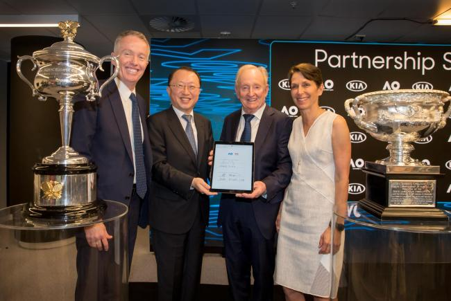 From left: Australian Open Tournament Director Craig Tiley, Kia Motors Executive Vice President Park Byung-yun, former Australian tennis player Rod Laver and Tennis Australia President Jayne Hrdlicka pose for a photo after signing a five-year partnership extension between the South Korean carmaker and the Australian Open, in Melbourne on Saturday. Kia Motors