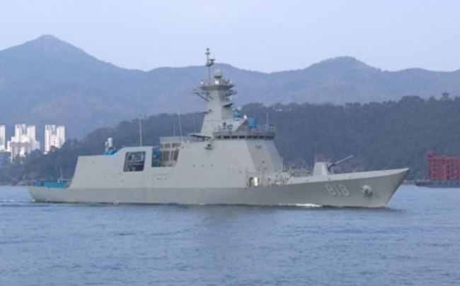 South Korean Navy`s new guided missile frigate, the Daegu, in an undated photo provided by the Defense Acquisition Program Administration. (Yonhap)
