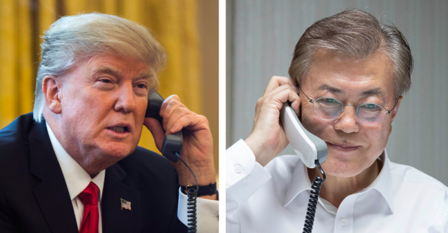 US President Donald Trump (left) and his South Korean counterpart Moon Jae-in. Yonhap