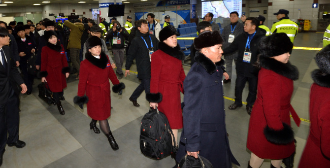 North Korean delegation arrives at the South Korean airport in Yangyang, Gangwon Province on Thursday. Yonhap