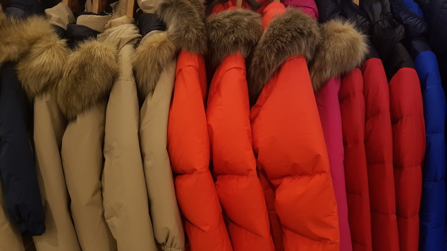 Colorful padded jackets (Rumy Doo/The Korea Herald)