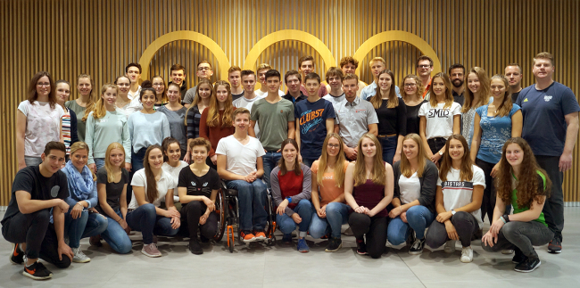 Members of the German Olympic Youth Camp pose in Frankfurt in November ahead of their visit to the PyeongChang 2018 Winter Olympics. (German Olympic Academy)