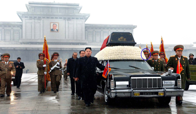 Kim Jong-gak, a vice chief of the Ministry of the People's Armed Forces, joined Kim Jong-un in accompanying a car carrying the body of the North late leader Kim Jong-il. Yonhap