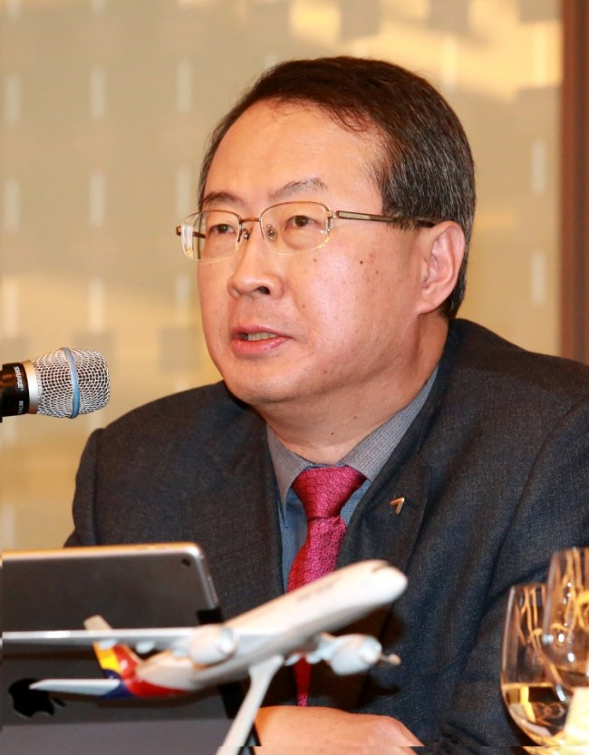 Asiana Airlines CEO Kim Soo-cheon speaks during a press conference to commerate the 30th anniversary of the company's foundation. (Asiana Airlines)