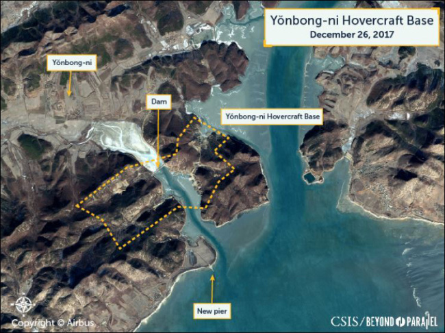 Satellite imagery shows construction work underway for a hovercraft base at Yonbong-ri, South Hwanghae Province, North Korea. The image was captured last year and revealed Monday by Beyond Parallel, a project run by the US-based Center for Strategic and International Studies.Yonhap