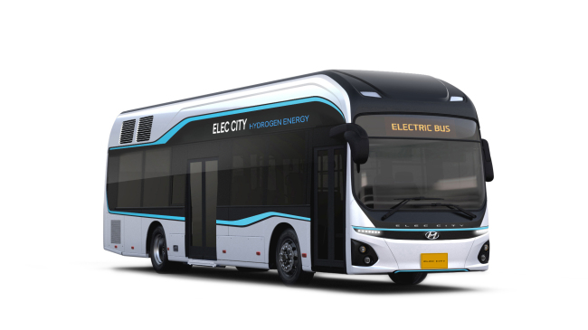 Three units of Hyundai Motor's hydroelectric bus with a driving distance of some 530 kilometers per charge are to offer transportation during the PyeongChang Olympics. (Hyundai Motor)