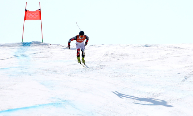 South Korean alpine skier Kim Dong-woo rides on a slope at Jeongseon Alpine Centre in Jeongseon, Gangwon Province, on Feb. 8, 2018. (Yonhap)