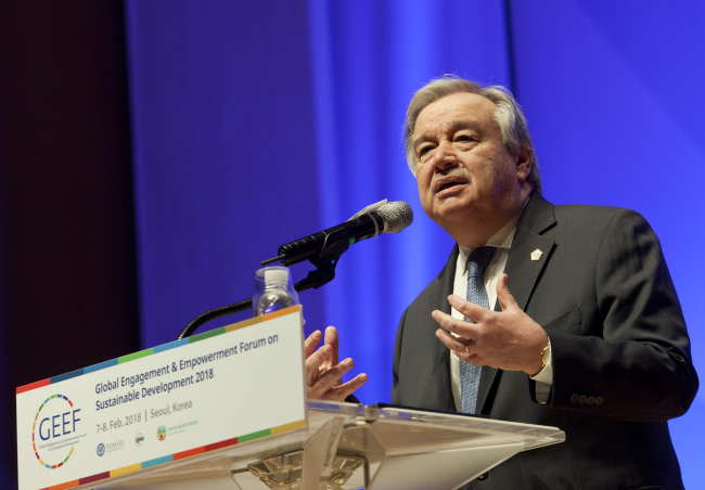 UN Secretary-General Antonio Guterres delivers a speech at the Global Engagement and Empowerment Forum on Sustainable Development at Yonsei University in Seoul on Thursday. (Yonsei University)