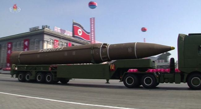 Hwasong-14 appears during North Korea`s military parade in Pyongyang. Yonhap