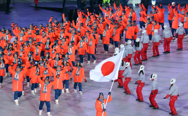 Athletes from Japan march into the stadium at the opening ceremony of the PyeongChang Winter Olympics in PyeongChang, Gangwon Province, Friday. (Yonhap)