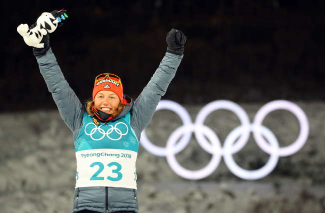 Laura Dahlmeier took Germany's first gold medal in the women's biathlon sprint. Yonhap
