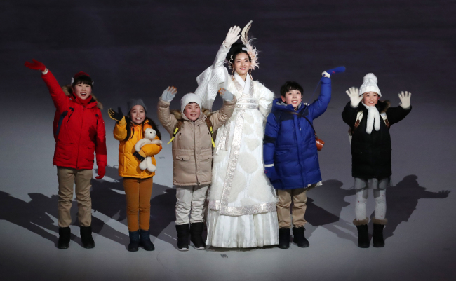 Five children represent the five elements at the PyeongChang Winter Olympics opening ceremony last Friday. (Yonhap)