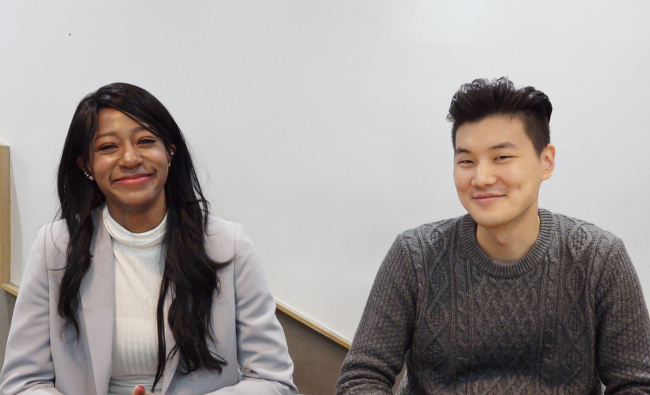 Whitney (left) and Kyu-ho talk with The Korea Herald on Feb. 7 at Google's Campus Seoul. (Rumy Doo/The Korea Herald)