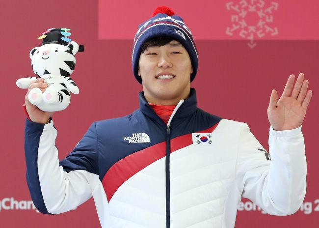 Yun Sung-bin clinches gold in men's skeleton, Feb. 16. (Yonhap)