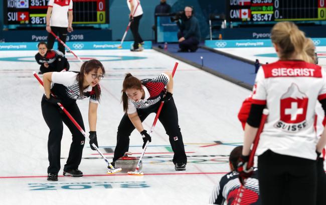 South Korea played against Switzerland on Feb. 16, 2018. (Yonhap)