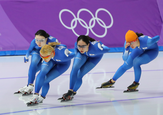 The Korean female speed skaters train for Monday's team pursuit event at Gangneung Ice Arena on Sunday.