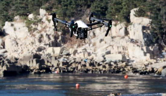 Army`s drone conducts search and rescue operation at a beach near the port city of Busan. Yonhap