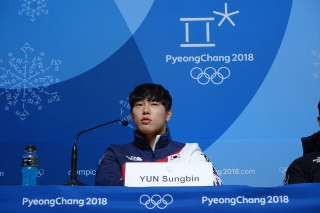 South Korean skeleton slider Yun Sung-bin speaks Wednesday during his press conference at Main Press Center in PyeongChang, Gangwon Province. (Photo by Bak Se-hwan/The Korea Herald)