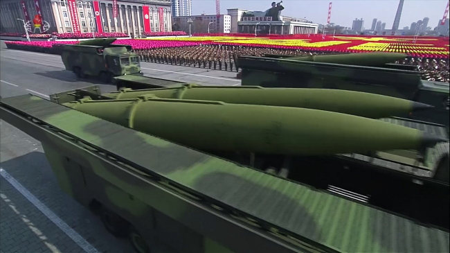 North Korea showcases what appears to be a new short-range ballistic missile during a military parade on Feb. 8. The event was designed to celebrate the foundation of the North Korean Army. Yonhap.
