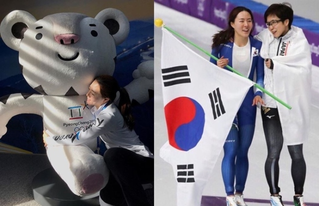 (Left photo) Lee Sang-hwa hugs PyeongChang mascot Soohorang.(Right photo) South Korean Lee Sang-hwa, left, and Japan's Nao Kodaira hold each other after the women's 500 meters speedskating event at the Gangneung Oval at the 2018 Winter Olympics in Gangneung, South Korea, on Sunday. (Lee Sang-hwa's Instagram)