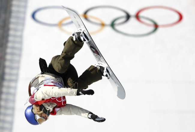 Gold medalist Anna Gasser of Austria is in action during the Women's snowboard big air final at the Alpensia Ski Jumping Centre during the PyeongChang 2018 Olympic Games, Thursday. (EPA-Yonhap)