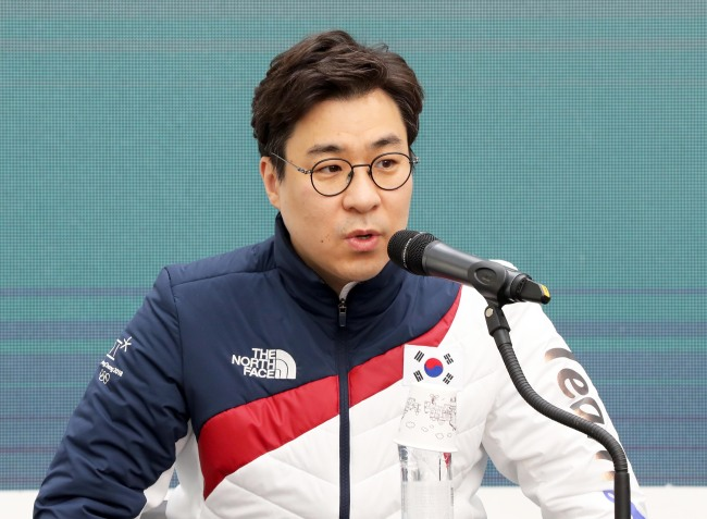 Korean short track speed skating head coach Kim Sun-tae speaks during a press conference at Team Korea House inside Gangneung Olympic Park in Gangneung, Gangwon Province, on Feb. 23, 2018. (Yonhap)