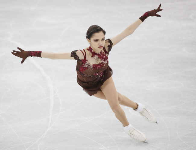 Evgenia Medvedeva earned 156.65 points during the free program 1.31 points behind Zagitova.