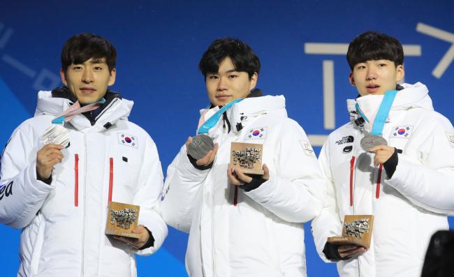 From left: Lee Seung-hoon, Kim Min-seok and Chung Jae-won (Yonhap)