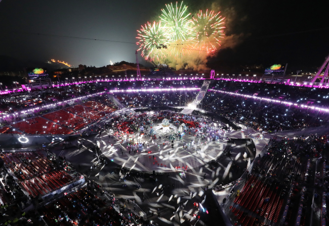 A general view of the closing ceremony for the 2018 PyeongChang Games at PyeongChang Stadium in Gangwon Province, Sunday (Yonhap)