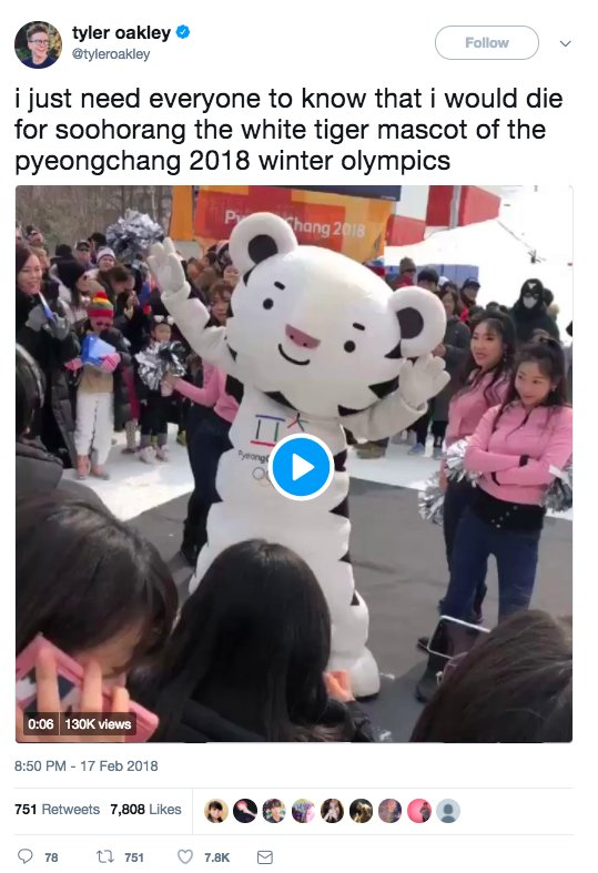 Tyler Oakley is not afraid to admit his love for the super cute Soohorang. (Photo: Twitter)