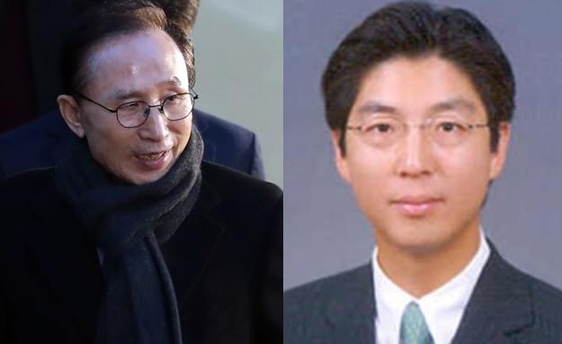 Former President Lee Myung-bak (left) and Lee Sang-joo (Yonhap)