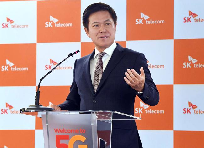 SK Telecom CEO Park Jung-ho speaks to reporters at Mobile World Congress 2018. (SKT)