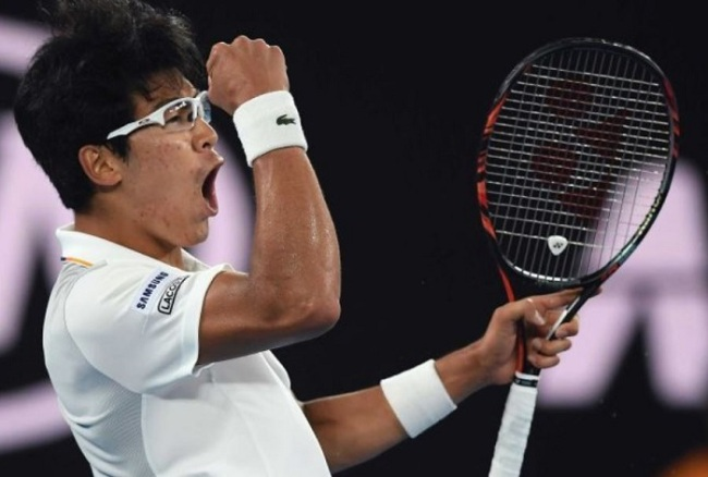South Korea`s Chung Hyeon pumps his fist after winning a point against six-time champion Novak Djokovic at the Australian Open 2018 (AP)