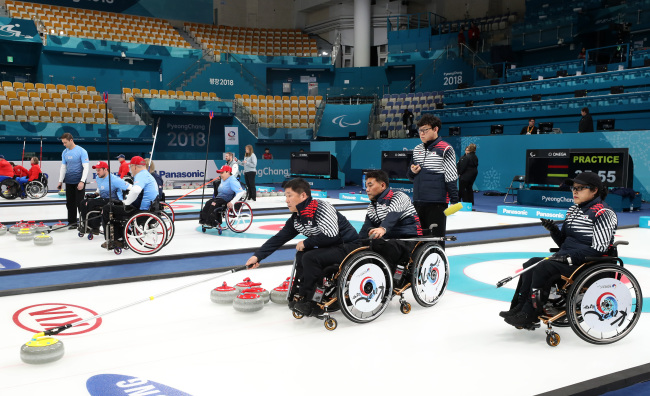 South Korea's curling team train at Gangneung Curling Center.