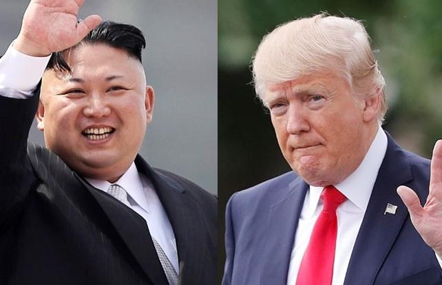 North Korean leader Kim Jong-un, left, and US President Donald Trump (AP)