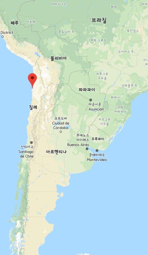 Location of Mejillones on map (Samsung SDI)