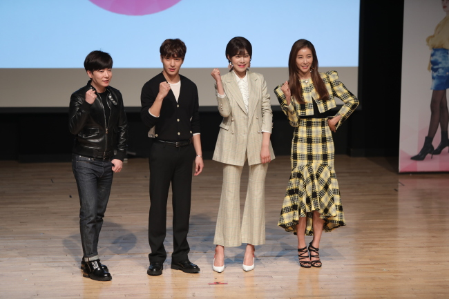 "The cast of ""The Beauty,"" (from left) makeup artist Park Tae-yun, Choi Jong-hun of FT Island, comedian Jang Do-yeon and actress Han Eun-jung pose for photos at a media conference at Ilchi Art Hall in Gangnam-gu, Seoul, on Wednesday. (RCM Media Group)"