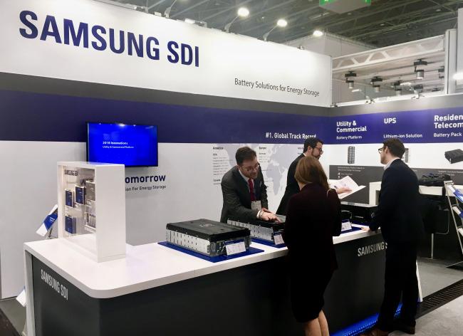 Samsung SDI's booth at Energy Storage Europe 2018 in Dusseldorf, Germany (Samsung SDI)