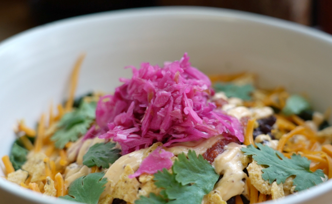 Lentil veggie burrito bowl at Plant (Rumy Doo/The Korea Herald)