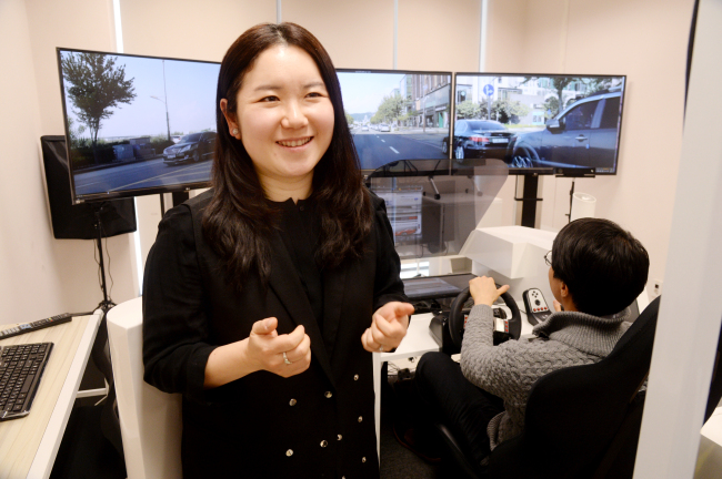 Ju Da-young, head of the Technology and Design Research Center, is seen at the center's lab at Yonsei University's Songdo campus (Park Hyun-koo/The Korea Herald)