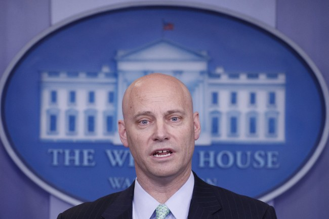 White House Director of Legislative Affairs Marc Short responds to a question during a daily briefing held Friday. (EPA-Yonhap)